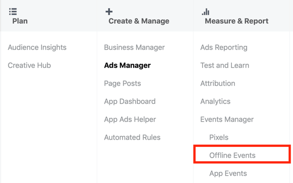 Option to select Offline Events under Measure & Report in Facebook Ads Manager.