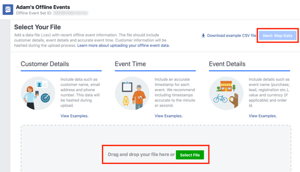 Option to drag and drop your data file to Facebook Ads Manager.