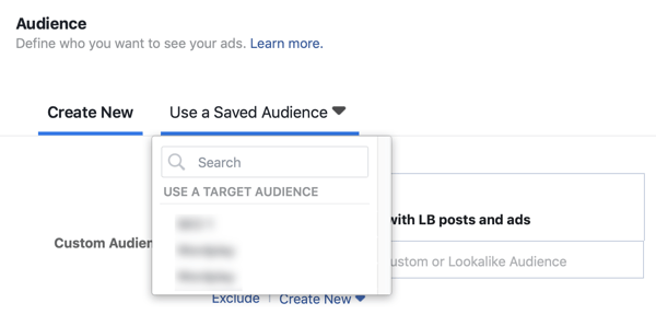Option to use a saved audience for a Facebook lead ad campaign.
