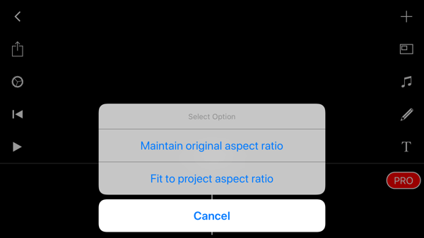 Create a Filmmaker Pro Instagram story step 4 showing aspect ratio settings.
