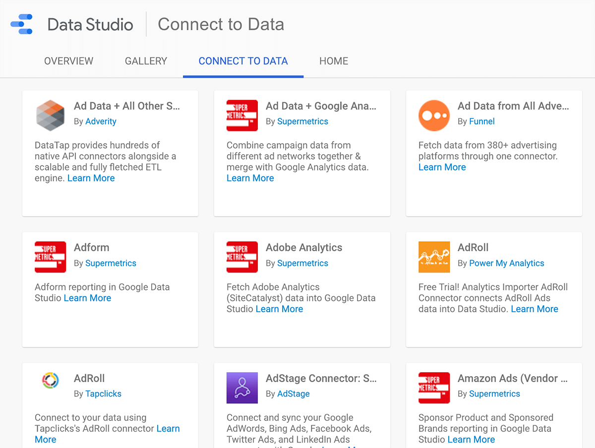 How to connect a data source to Google Data Studio, tip 1