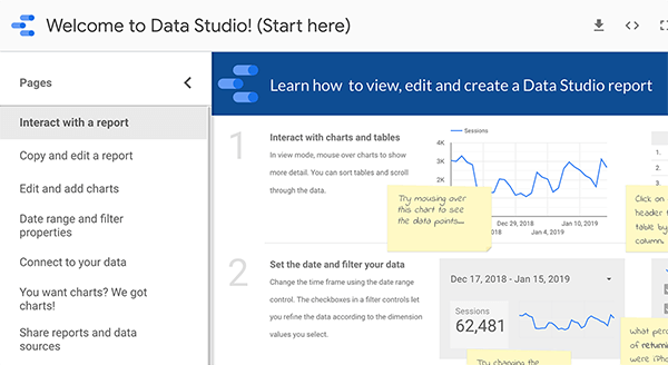 How to get started in Google Data Studio, tip 1