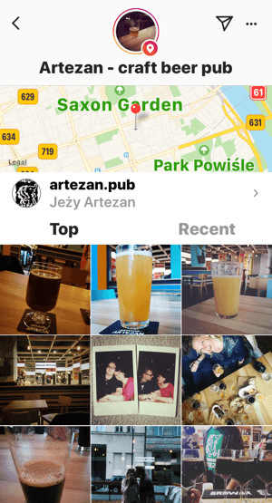 Example of the check-ins for a Facebook page appearing on Instagram, too.