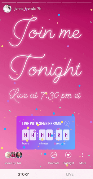 How to use the Instagram Countdown sticker for business, example countdown to live broadcast.