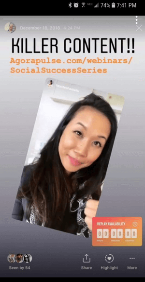 How to use the Instagram Countdown sticker for business, example countdown to webinar.