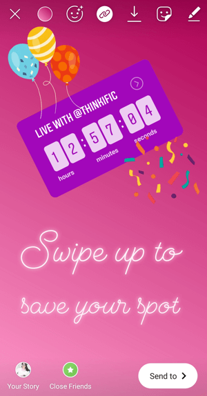 How to use the Instagram Countdown sticker for business, example countdown with direct link.