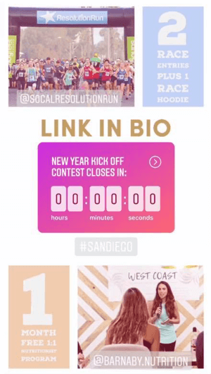 How to use the Instagram Countdown sticker for business, example countdown to contest.