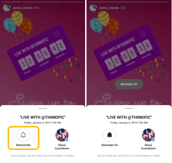 How to use the Instagram Countdown sticker for business, countdown reminder option.