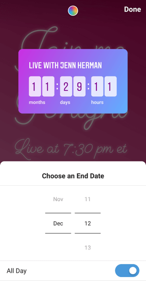 How to use the Instagram Countdown sticker for business, step 3 countdown end date.