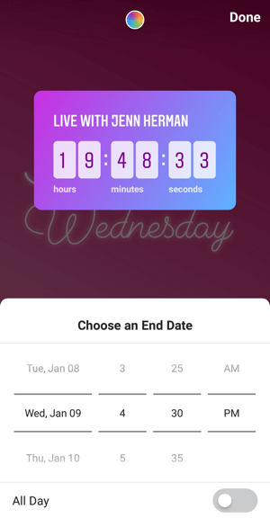 How to use the Instagram Countdown sticker for business, step 4 countdown end time.