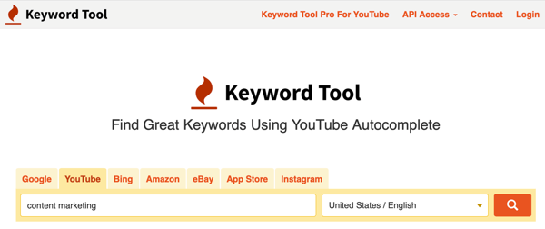 Keyword Tool research keywords on the YouTube tab step 1.