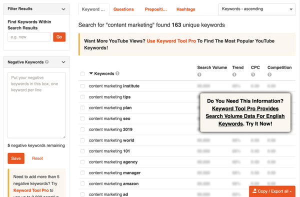 Keyword Tool YouTube keyword research step 2 results.