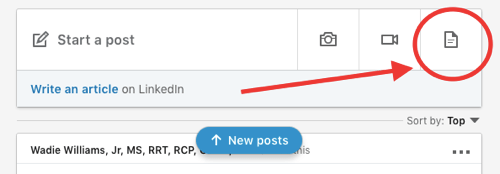 LinkedIn document sharing post, upload document to organic post step 1, add new document icon