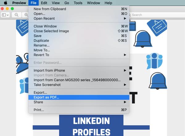 LinkedIn document sharing post, enhance organic post documents step 1, export infographics as pdf