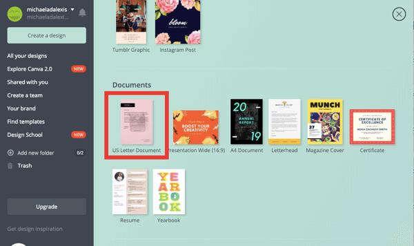 LinkedIn document sharing post, past blogs ebook download step 1, us letter document