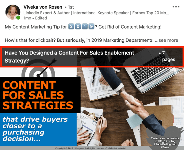 LinkedIn document sharing post example, step 1, document name, pages, and the first page