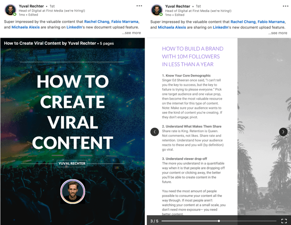LinkedIn document sharing post, past blogs ebook download step 4, guide example by Yuval Rechter
