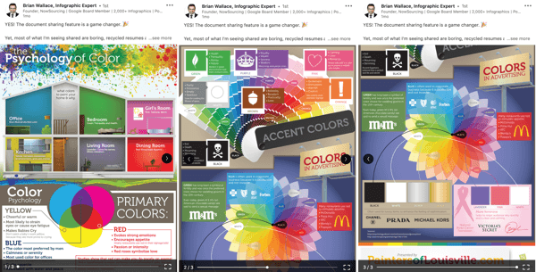 LinkedIn document sharing post, enhance organic post documents step 2, psychology of color infographic example by Brian Wallace