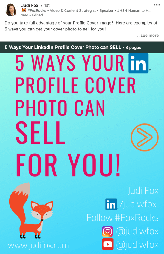 LinkedIn document sharing post, deliver powerpoint presentation step 1, presentation download example by Judi Fox
