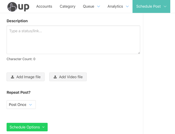 Option to scheduled your post through OneUp.