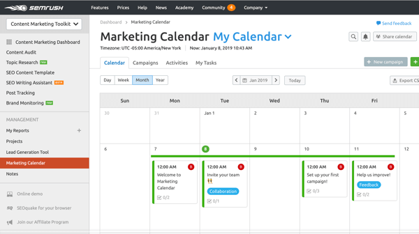 Example of an SEMrush marketing calendar.