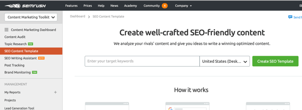The SEO Content Template from SEMrush.