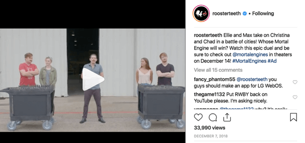 Example of Rooster Teeth superfan engagement on Instagram.