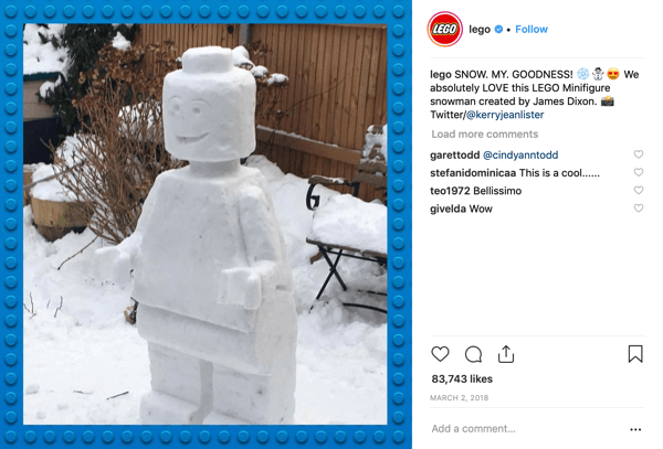 Example of Lego superfan engagement.
