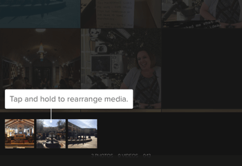 Create a Splice Instagram story step 3 showing media rearranging option.