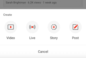 YouTube Create Story button.