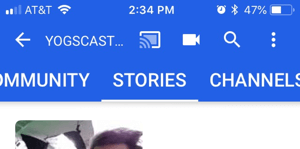 YouTube Stories shown via the Stories tab on a channel page.
