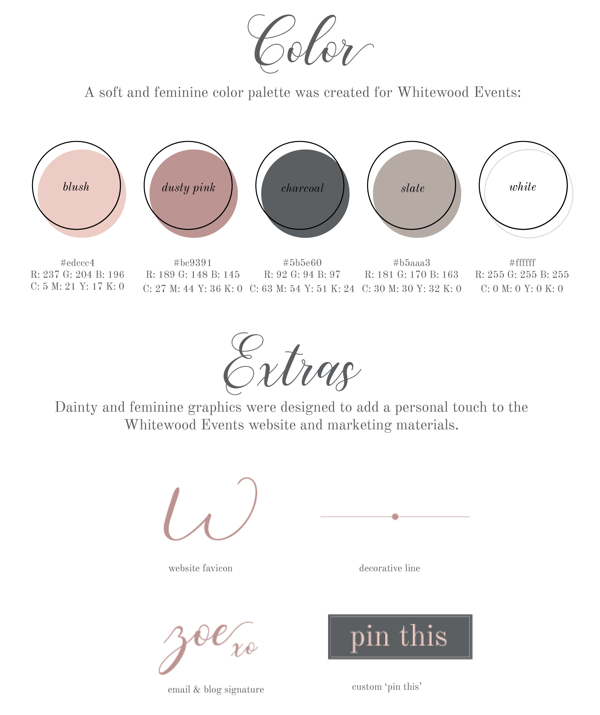How to improve your instagram photos, brand color palette example for Whitewood Events