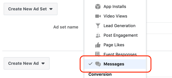 How to get leads with Facebook Messenger ads, messages set as the destination at the ad set level