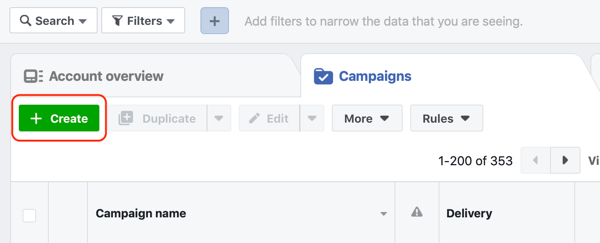 How to target warm leads with Facebook Messenger ads, step 1, create campaign in Ads Manager