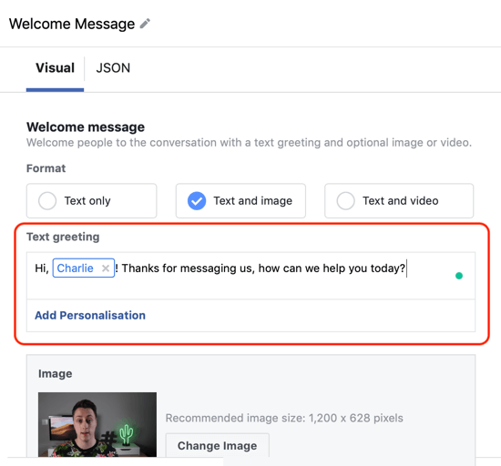 How to target warm leads with Facebook Messenger ads, step 12, messenger destination custom template personalization example