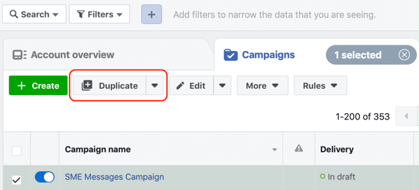 How to convert website visitors with Facebook Messenger ads, step 1, duplicate campaign
