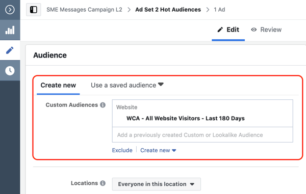 How to convert website visitors with Facebook Messenger ads, step 2, create website custom audience