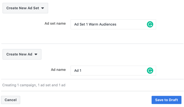 How to target warm leads with Facebook Messenger ads, step 3, ad and ad set name settings