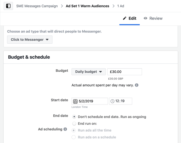 How to target warm leads with Facebook Messenger ads, step 5, budget and schedule settings