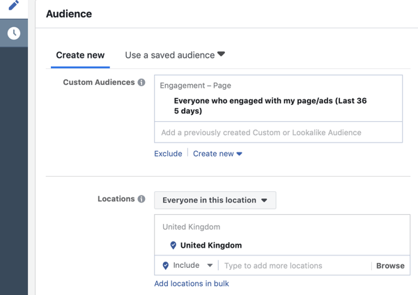 How to target warm leads with Facebook Messenger ads, step 6, audience who had engaged with page