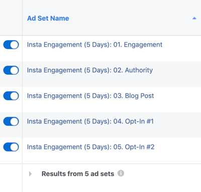 How to create and run a self-sustaining Instagram ad sequence for as little as $5 a day, create Instagram ad campaign, step 7, create 5 ad sets within campaign per content funnel