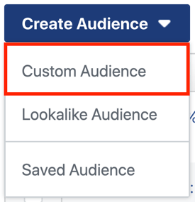 How to create and run a self-sustaining Instagram ad sequence for as little as $5 a day, create Instagram ad campaign, step 3, create custom audience dropdown