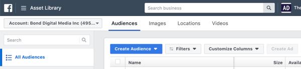 Hoe u een zelfvoorzienende Instagram-advertentiereeks maakt en uitvoert voor slechts $ 5 per dag, maak een Instagram-advertentiecampagne, stap 2, doelgroepen in Facebook Ads Manager
