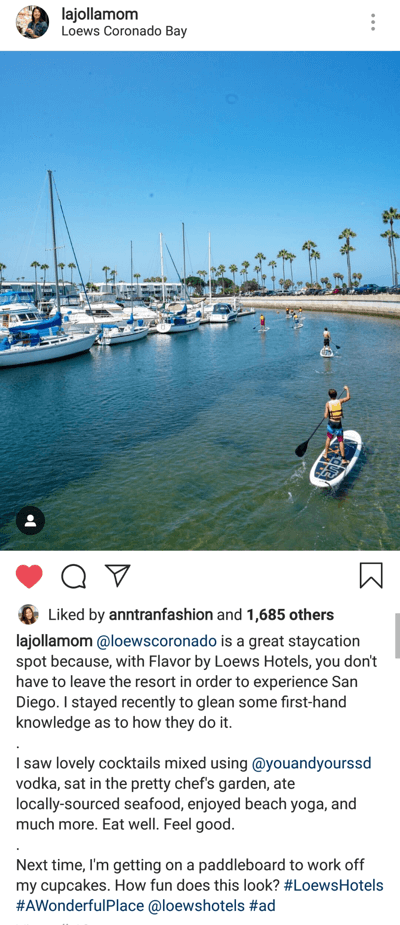 How to write engaging Instagram captions, ideal caption length post example with multiple paragraphs by lajollamom
