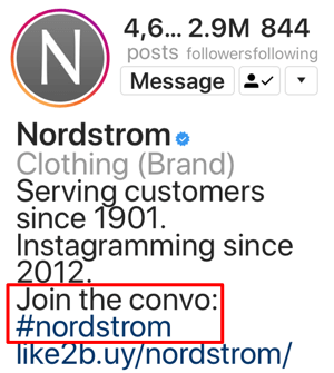 Example of proper hashtag use in an Instagram bio.