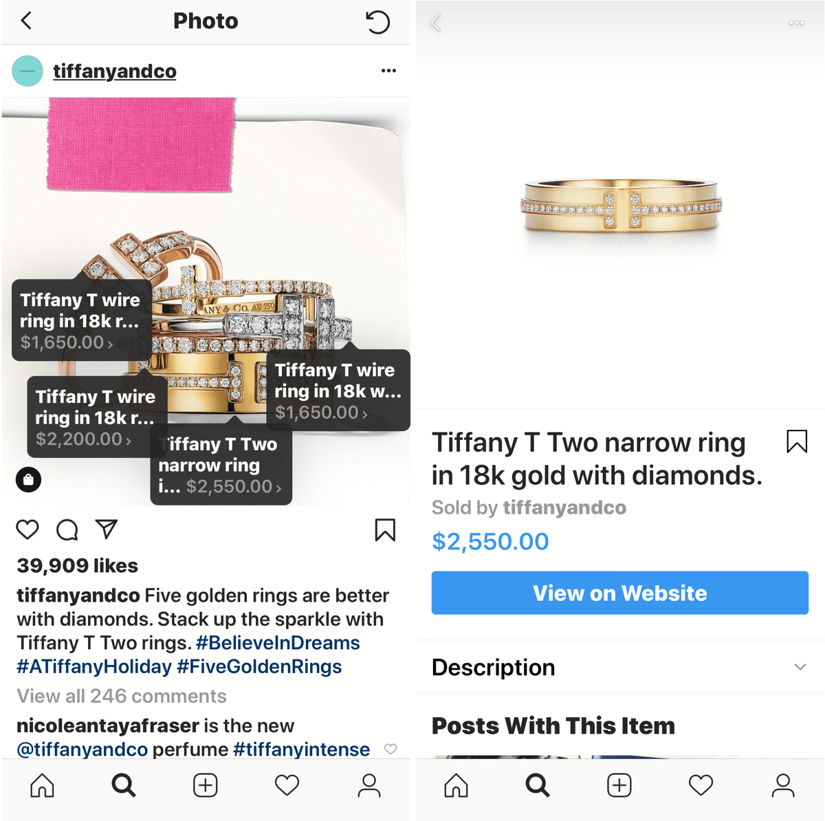 How to improve your instagram photos, shoppable image post by Tiffany & Co.