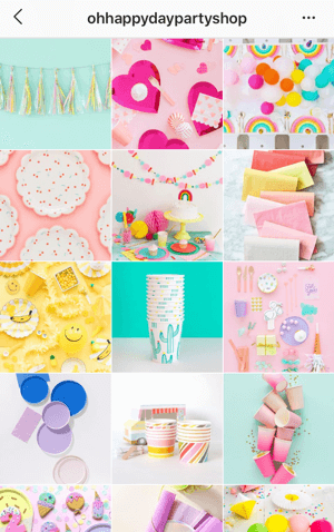 How to improve your instagram photos, Instagram feed theme sample from Oh Happy Day Party Shop showing a bright color palette