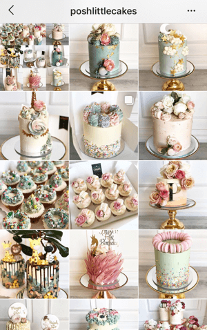How to improve your instagram photos, Instagram feed theme sample from Posh Little Cakes showing a muted color palette