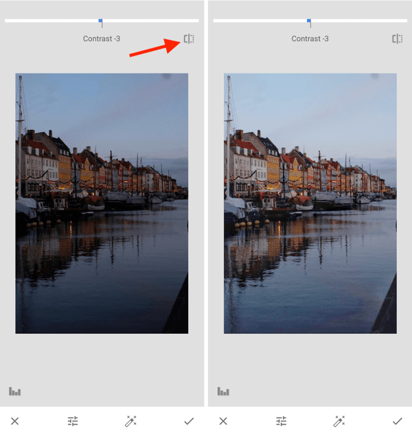 How to improve your instagram photos, step 10, adjust exposure post-capture settings toggle between original and edit