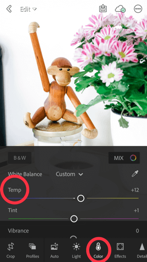 How to improve your instagram photos, step 5b, adjust white balance, temperature scale adjustment